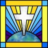 Cruz del vidrio manchado Fotografía de archivo libre de regalías