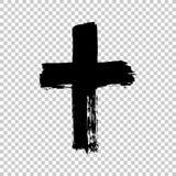 Cruz dibujada mano Cruz del Grunge Cruz hecha con el movimiento del cepillo imagen de archivo libre de regalías