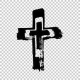 Cruz dibujada mano Cruz del Grunge Cruz hecha con el movimiento del cepillo Imagen de archivo