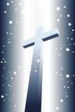 Cruz divina iluminada con las estrellas Imagen de archivo