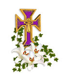 Cruz do fundo de Easter e lírios de Madonna Fotos de Stock Royalty Free