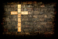 cruz do tijolo de christ textured Foto de Stock Royalty Free