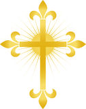 Cruz dourada de Fleur/eps Foto de Stock Royalty Free