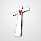 Cruz drenada mano con el corazón Imágenes de archivo libres de regalías