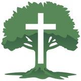 Cruz e árvore Christian Religious Symbol Vetora Illustration Imagens de Stock Royalty Free