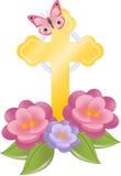 Cruz e flores Foto de Stock Royalty Free