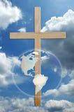 Cruz e mundo Imagem de Stock