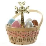 Cruz e ovos de Easter Fotografia de Stock Royalty Free