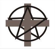 Cruz e pentagram - vetor Fotografia de Stock