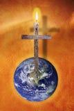 A cruz e a terra fotos de stock royalty free