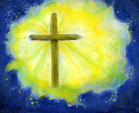 Cruz en amarillo y azul Fotos de archivo libres de regalías