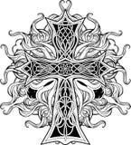 Cruz en de estilo celta con las cintas del fuego Fotos de archivo libres de regalías