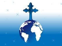 Cruz en el globo Imagen de archivo libre de regalías