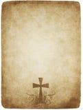 Cruz en el pergamino viejo Fotos de archivo libres de regalías