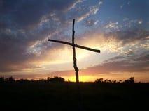 Cruz en la salida del sol de KS Foto de archivo libre de regalías