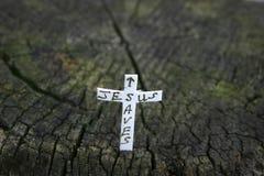 Cruz en un registro Imagen de archivo libre de regalías