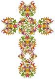 Cruz floral del estilo de la red de Jesús Foto de archivo libre de regalías