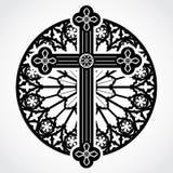 Cruz gótica de la silueta en círculo de la ventana color de rosa Imagen de archivo