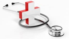 Cruz médica com estetoscópio Fotos de Stock
