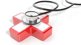 Cruz médica com estetoscópio Fotos de Stock Royalty Free