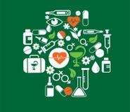Cruz médica con el conjunto del icono de la salud Imagenes de archivo