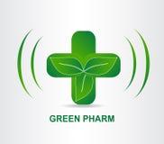 Cruz médica de la farmacia verde del eco Plantilla del logotipo Fotografía de archivo libre de regalías