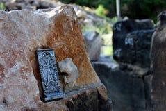 Cruz na capela Poxos Petros em Akunq, Armênia Fotografia de Stock Royalty Free