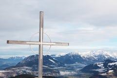 Cruz na cimeira, Niederau Imagem de Stock