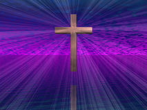 Cruz no céu roxo Foto de Stock Royalty Free