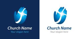 Cruz no logotipo da igreja da mão Fotografia de Stock Royalty Free
