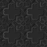 cruz redonda Dot Line Frame do quadrado da verificação da arte 3D de papel escura Fotos de Stock