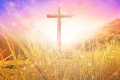 Cruz, rezando, adoração, cruz de Bulrry, conceito outono, Imagem de Stock
