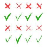 Cruz Roja y sistema verde del vector de la señal Sí y ningunos iconos para los sitios web y los usos Muestras correctas e incorre libre illustration