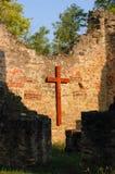 Cruz, ruina, iglesia, religión, Catholocism Fotografía de archivo libre de regalías