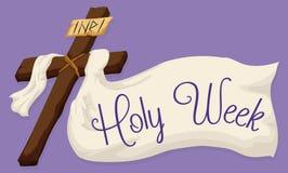 Cruz santa con una tela grande con el texto de la semana santa, ejemplo del vector