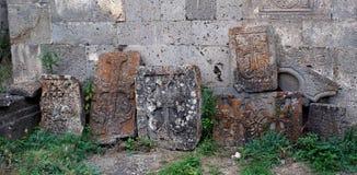 Cruz velha (khachkar) no Tatev monestry, Armênia Imagem de Stock