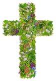 Cruz verde da mola da Páscoa de Jesus imagem de stock