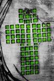 Cruz verde del cristiano del mosaico Imagen de archivo