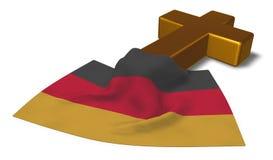 Cruz y bandera cristianas de Alemania Imagen de archivo