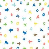 Cruz y círculo inconsútiles Pale Vintage Color Scribble de la raya amarilla y del orrange Mark Pattern grande para el fondo, abri libre illustration