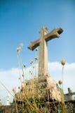 Cruz y flor cristianas foto de archivo libre de regalías