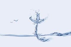 Cruz y pájaros del agua Imágenes de archivo libres de regalías