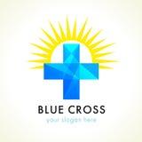 Cruz y sol azules de la faceta stock de ilustración