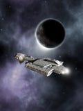 Cruzador de batalha da ficção científica, mundo escuro Imagens de Stock