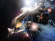 Cruzador de batalha no espaço Fotos de Stock Royalty Free