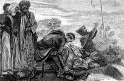 Cruzados que reciben allí la primera vista de Jerusalén Imagen de archivo libre de regalías
