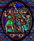 Cruzados - vitral en la catedral de viajes, Francia imágenes de archivo libres de regalías