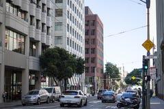 Cruzamento da argila e do Davis Street em San Francisco foto de stock royalty free