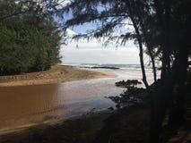 Cruzamento da praia de Mahaulepu em Kauai foto de stock
