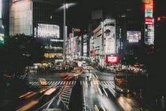 Cruzamento da precipitação de Shibuya no Tóquio, Japão Fotografia de Stock Royalty Free